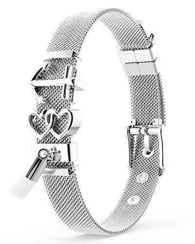 THIORA® - Mesh Armband mit Charms | Anhänger Austauschbar | Rosegold Gold Silber | Geschenk | Anker Herz Quaste | Boho | Charmband Frauen | Classic Line (Ibiza - Silber)