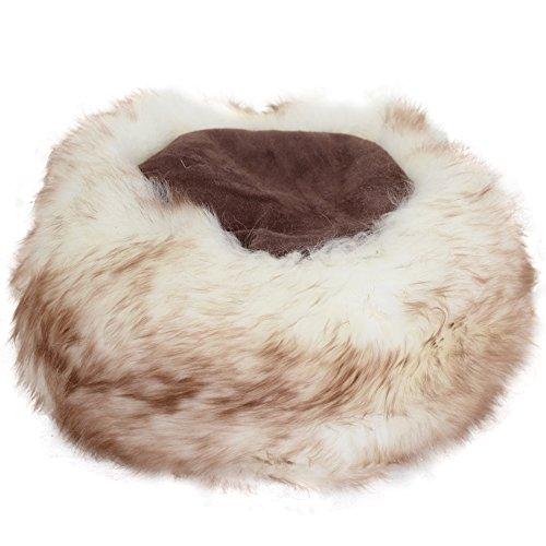 Bushga Bushga Damen Full Pelz Kosaken Stil hat Gr. Medium, Brown with Natural Tipped