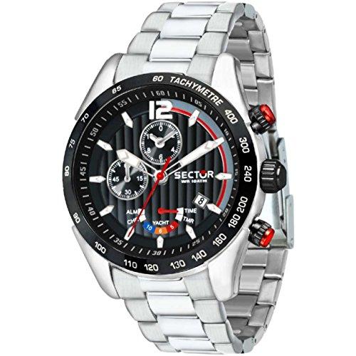 SECTOR Herren Chronograph Quarz Uhr mit Edelstahl Armband R3273794009
