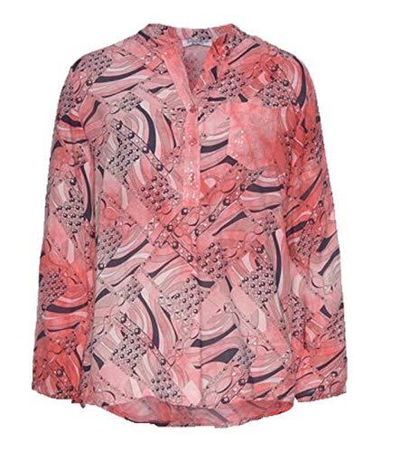 Zabaione Hemdbluse stylische Damen Bluse Freizeit-Bluse Frühlingsbluse mit 3/4 Ärmel Rosa, Größe:XS