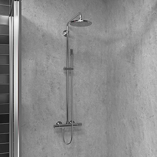 Duschrückwand Dekor - Wand Verkleidung Dusche Bad Rückwand mit Motiv Muster - Stein Marmor Sand Optik (Stein Grau Hell Natural)
