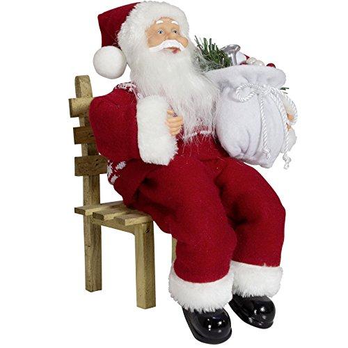JEMIDI Weihnachtsmann Sitzend 30cm Deko Nikolaus Kantenhocker Figur Groß Weihnachts Deko (Nikolaus Klassisch)