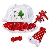 Fenical - Conjunto de 4 trajes de Navidad para recién nacido Albero Di Natale 3-6 meses