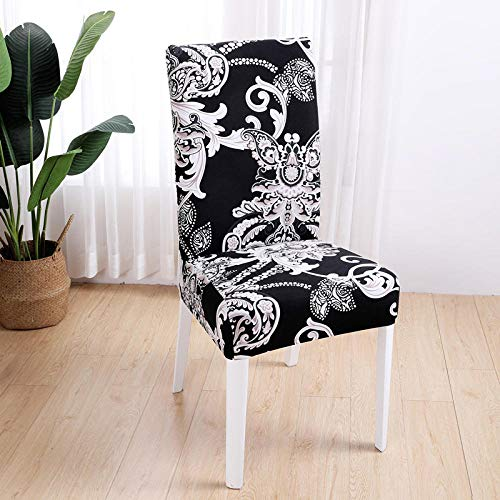 Dining Chair Covers Set of 6 Sepia White Flower Chair Covers Spandex Stretch Removable Washable Modern Dining Chair Covers,Dining Room Chair Covers with Elastic Band