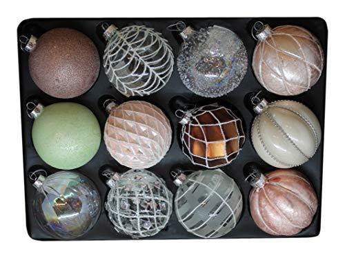G&M 12er Set edle Christbaum-/Weihnachtskugeln aus Glas Ø 8 cm (Rosa, Weiß, Kupfer, Mint, Klar, Glitzer)