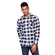 WOOD PAPER COMPANY Men's Long Sleeve Regular Fit Navy Large-Scale Plaid Shirt
