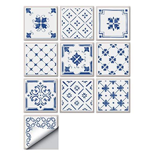 decalmile 10 Piezas Pegatinas de Azulejos 15x15cm Azul y Blanco Adhesivo Decorativo para Azulejos Cocina Baño Decoración