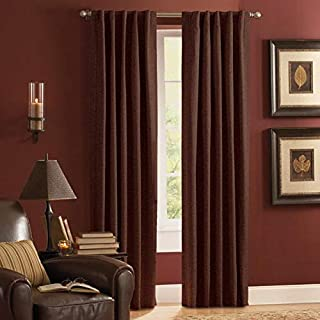 Style Selections Roberta Mocha Polyester Rod Pocket Room Darkening Thermal Lined Single Curtain Panel 42 W x 84 L