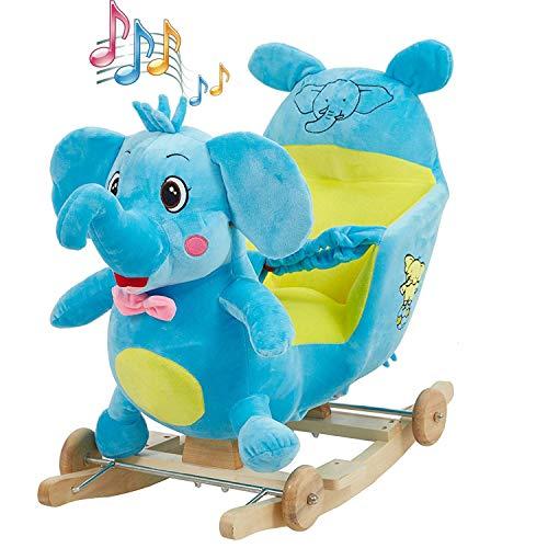 KARMAS PRODUCT Baby Kids Rocking Horse Toy Child Wooden Plush Rocking Horse Chair Rocker/Elephant Animal Ride on, with Wheels/Music/Seat Belt