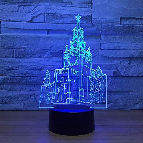 MQJ Bell Tower 3D Led Ilusión Lámpara Noche Luz Óptica Mesita de Noche Luces de Noche 16 Color Cambiador Táctil Botón de Decoración de Lámparas de Escritorio,