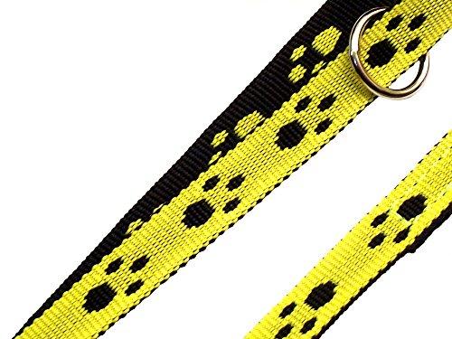 Angel for Pets MJH Schleppleine 3m lang mit Handschlaufe, 15mm breit gelb/schwarz Pfotenmuster