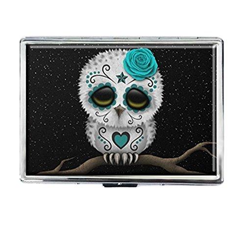 Cigarette Case Storage Case Box Stylish Credit Business Card Holder Case Box Unique Stainless Steel Silver (Sugar Skull Owl)