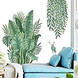 Plantas Tropicales Hojas Verdes Pegatinas De Pared,Tropical Tree Leaves Adhesivos de pared, Hojas Verde Adhesivos Pared de Dormitorio, Sala de Estar, Comedor, Pared de Fondo de Tv (Verde)