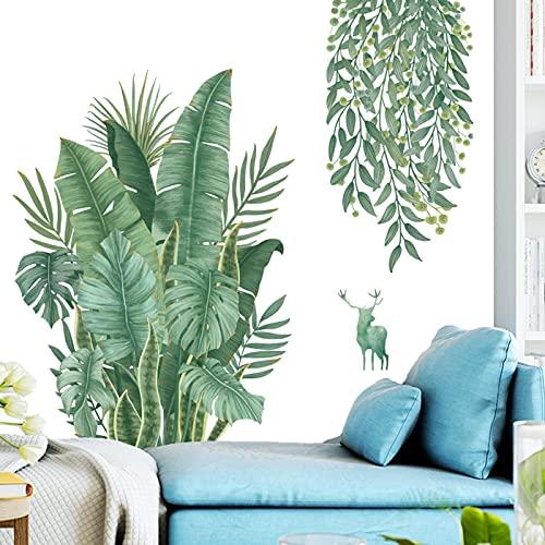 Tropische Groene Bladeren Plant Muurstickers, Noordse Tropische Planten Monstera Bladeren Tuin Klein Vers…