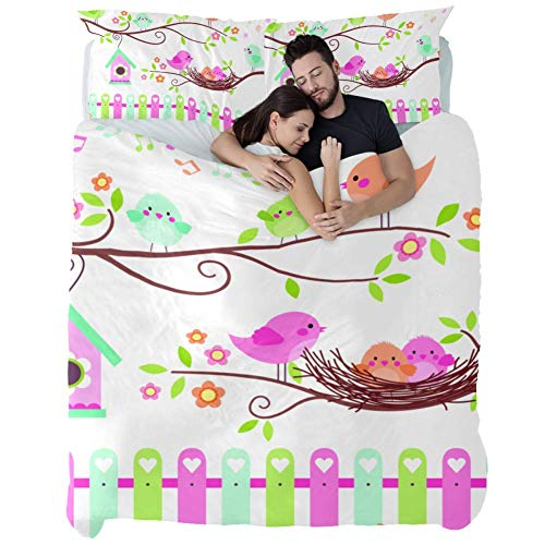 Bed Sheet Set - 3 Piece Microfiber Comforter Set Quilt Cover and 2 Pillow Shams with Birds On Branches Chicks in Nest for Women Men