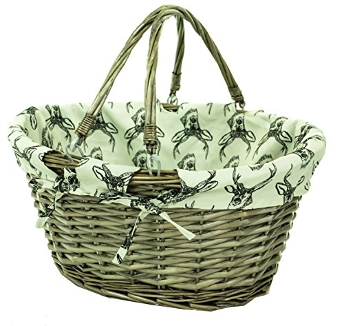 east2eden Brown Wicker Willow Shopping Hamper Basket with Stag Liner In Choice of Deals (Single)