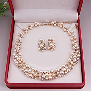 BE Gold Pearl Gold Gold گردنبند عروس گردنبند مجلسی ساده جواهرات مجموعه هدیه هدیه BP