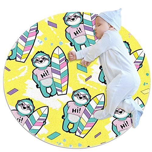 Alfombra Suave Redonda 70x70cm/27.6x27.6IN Alfombrillas Circulares Antideslizantes para el Suelo Alfombrilla para pie de Esponja Absorbente,Pereza con una Tabla de Surf