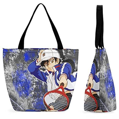 Prince Of Tennis - Borsa da donna in tela, grande capacità, riutilizzabile, con cerniera, ecologica, per scuola, ufficio