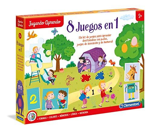 Clementoni- Kit 8 Juegos Aprender y Jugar, Multicolor, Misce