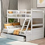 Merax Solid Wood Bunk Bed Detachable No Box Spring Needed Loft, Twin/Full, White