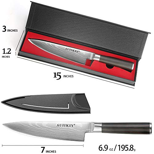 Professional Chef Knife 7 Inch, Japanese Kitchen Knife Made of German High Carbon Stainless Steel with Ergonomic Handle