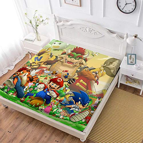 RWNFA Sonic Fitted Sheet,Mario Sonic Crash Bandicoot,Soft Wrinkle Resistant Microfiber Bedding Set,with All-Round Elastic Deep Pocket, Bed Cover for Kids & Adults,queen (70x80 inch)