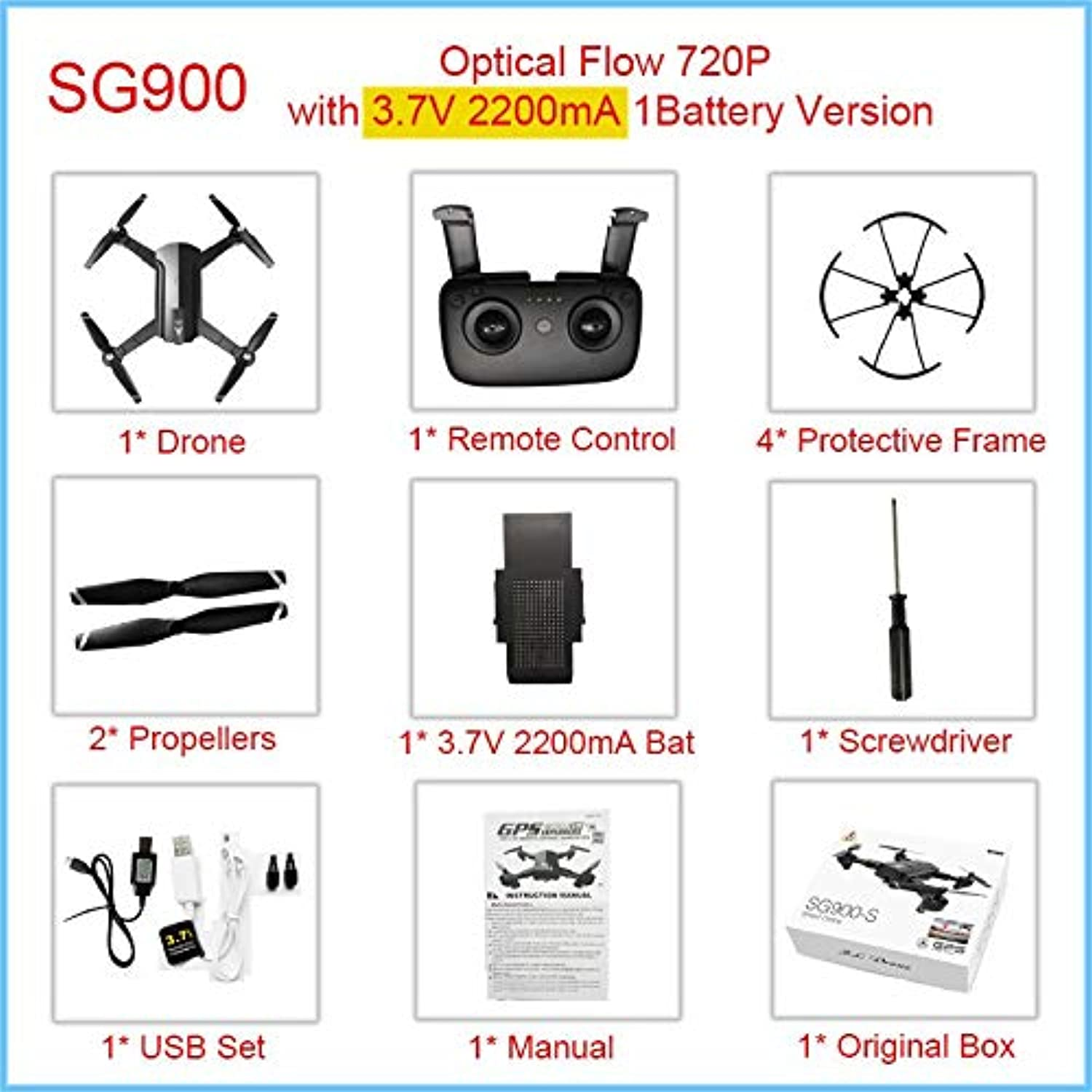 Generic GPS Drone Professional with 1080P 720P WiFi Camera HD Drone Follow Me GPS Fixed Point Foldable SG900 SG900S Drones 20 minutos OF720P2200mA1Bat