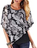 Lotusmile Flattering Blouses for Women Floral Printed Bohemian Chiffon Blouse Caftan Poncho Tunic Cover up Holiday Casual Shirt Work Plus Size Poncho Summer Dressy Tops for Party Evening