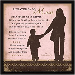 "Mom Prayer Wood Framed Plaque Inspiring Quote 7.5""x7.5"" - Square Frame Wall & Tabletop Decoration 