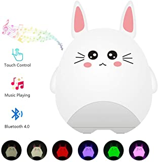 Colorful LED Night Light for Kids Bluetooth Speaker, Cartoon Bluetooth MP3 Player, Touch Control Multicolor Changing Bedside Table Lamp for Bedroom Christmas Birthday Gift for Children