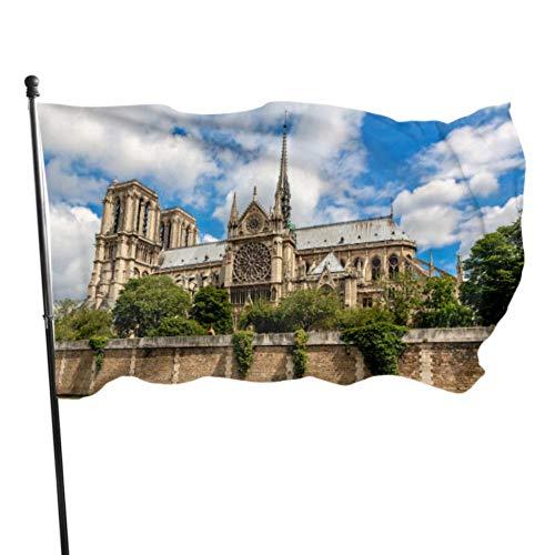 JDQP Belle Notre Dame De Paris Décoratif Maison Drapeau Pôle Cour Extérieure Cour Drapeau Stand 3x5 Pieds Couleurs Vibrantes Qualité Polyester et Oeillets en Laiton