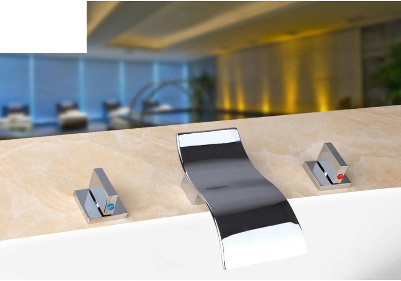 Split-Typ Badewanne Wasserhahn Thermostat Brausebatterie drei-Satz Wasserfall breite Wasserhhne-C