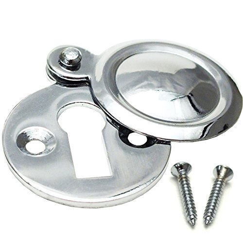 Chrome Covered Key Escutcheon - Round Front Main Door Keyhole - Plate Lock Cover