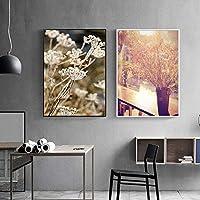 """スカンジナビアスタイルフラワーグラスウォールアートキャンバス絵画植物風景ポスター印刷画像モダンな家の装飾23.6"""" x31.4""""(60x80cm)x2フレームレス"""