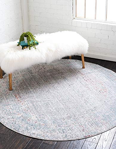 Unique Loom Austin Collection Casual Vintage Over-Dyed Gray Round Rug (6' 0 x 6' 0)