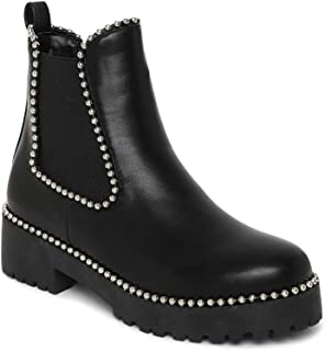 ESTATOS Synthetic Leather Broad Toe Comfortable Black Boots for Women