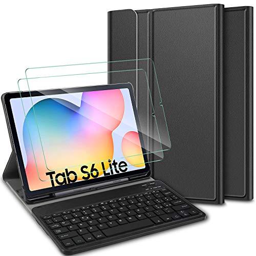 ELTD Cover Tastiera Design Italia [(é.c.§)] + Pellicola temprata [Due Confezioni] per Samsung Galaxy Tab S6 Lite 10.4, Custodia con Tastiera Wireless Rimovibile per Samgsung Galaxy Tab S6 Lite