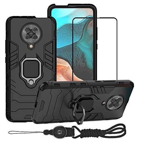 YundEU Hülle für Xiaomi Poco F2 Pro 5G Handyhülle mit Panzerglas Lanyard, Hybrid Rüstung Defender Heavy Duty Hard Bumper Silikon Handyhülle stossfest Schutzhülle Hülle Tasche mit Kickstand, Schwarz