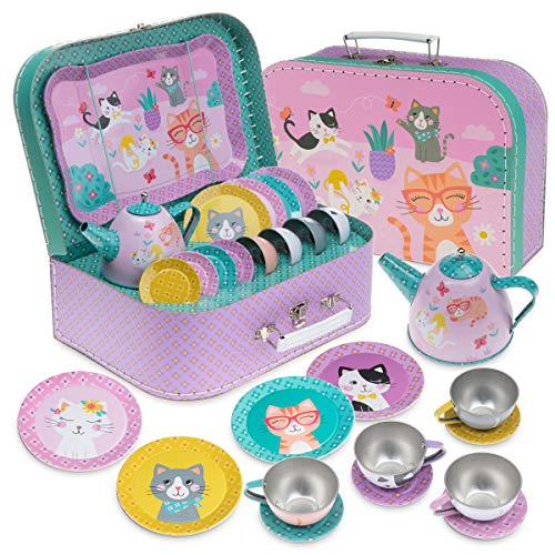 Jewelkeeper 15 Piece Kids Tin Tea Set &...