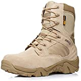 HARGLESMAN Men's Tactical Boots 8 Inches Combat Military Work Desert Leather Army Waterproof Boots with Zipper for Training Outdoor Hiking Walking Paintball Practicing Sand US Size 11