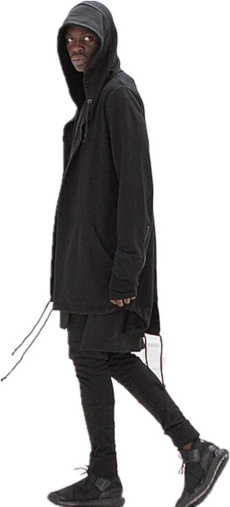 XINGTU Men's Hipster Hip Hop Long Sleeve Longline Cardigan Hoodies