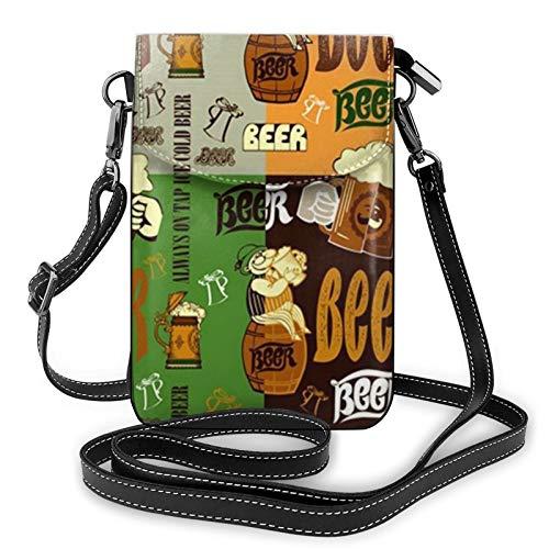 Bolso ligero del teléfono celular de la PU, bolso pequeño de la cerveza del bolso del hombro de la cartera del bolso del bolso del Pounch para las mujeres, color Negro, talla Talla única
