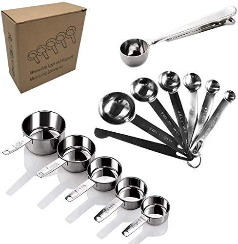 Sweetone Set de Tazas y cucharas medidoras, 13 Piezas Premium 304 de Acero Inoxidable Cuchara dosificadora, para Ingredientes líquidos y Secos