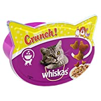 Add to your cat's regular meal - Whiskas Treats Crunch! are a flavourful complementary pet food for adult cats, full of taste and goodness Each package of Whiskas Crunch! contains a mixture of chicken, turkey and duck, enriched with vitamins and mine...