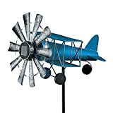 """Collections Etc Solar Power Lighted Propeller Airplane Spinner Stake - Vintage Style, Automatically Shine at Night - for Garden, Yard, Lawn - Includes 1 AA Battery - Metal - 15"""" L x 12"""" W x 57"""" H"""