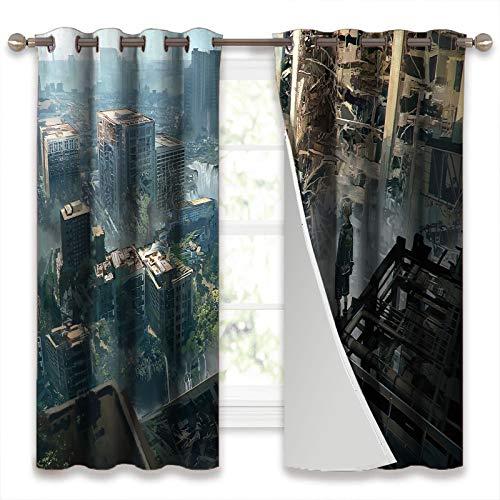 SSKJTC Cortinas para oscurecer la habitación, paneles de cortina Nier Automata Games Yorha No.2 tipo B 2B, diseño de anime japonés, niñas en la ciudad, con aislamiento térmico, 132 x 160 cm