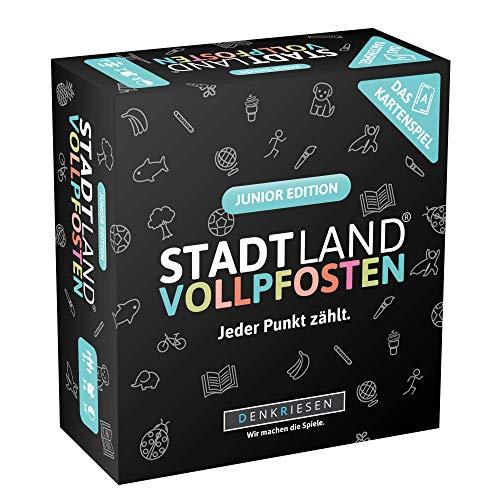 DENKRIESEN - Stadt Land VOLLPFOSTEN - Das Kartenspiel - Junior Edition | Wichtelgeschenk | Stadt Land Fluss Kinderspiel | Geburtstagsgeschenk | Reisespiel