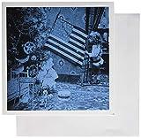 3Drose Niña y Bandera Americana Vintage Navidad Cian Tono – Tarjetas de felicitación, 6 por 6 pulgadas, juego de 12 (gc_6741_2)