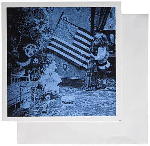 3drose meisjes en American vlag Vintage Kerstmis cyaan toon - wenskaarten, 6 van foto, set 12 (GC 6741 2)